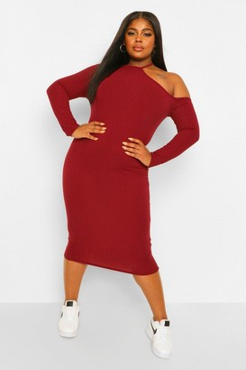 boohoo Plus Rib Cut Out Shoulder Midi Dress
