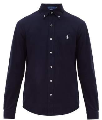 Polo Ralph Lauren Logo Embroidered Cotton Pique Button Down Shirt - Mens - Navy