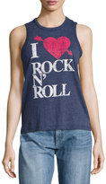 Chaser I Heart Rock-N-Roll Tank, Blue