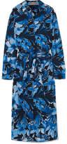 Michael Kors Printed Silk Crepe De Chine Midi Dress - Navy