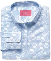 Charles Tyrwhitt Women's semi-fitted cotton floral sky and white poplin shirt