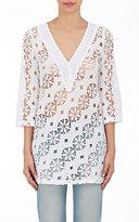 Temptation Positano Women's Spino Cotton Lace Tunic Shirt-WHITE