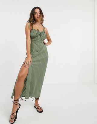 ASOS DESIGN lace insert bias maxi dress with ruched bust in khaki
