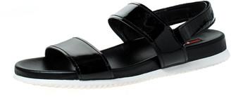 Prada Sport Black Patent Leather Flat Sandals Size 38