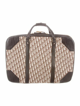 Christian Dior Leather-Trimmed Diorissimo Suitcase Brown