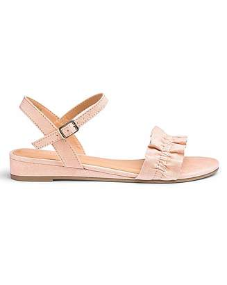 Simply Be Tammie Low Wedge Ruffle Sandal Wide Fit