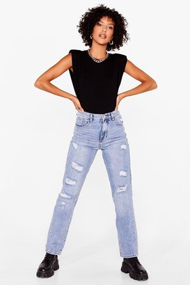 Nasty Gal Womens Rip 'Em Off Distressed Straight Leg Jeans - Blue - XS