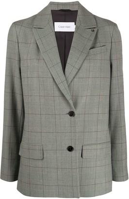 Calvin Klein Checked Single-Breasted Blazer