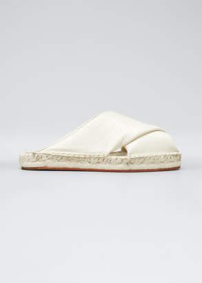 Proenza Schouler Leather Peep-Toe Espadrille Slide Sandals, White