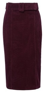 Dorothy Perkins Womens Tall Aubergine Corduroy Belted Midi Skirt