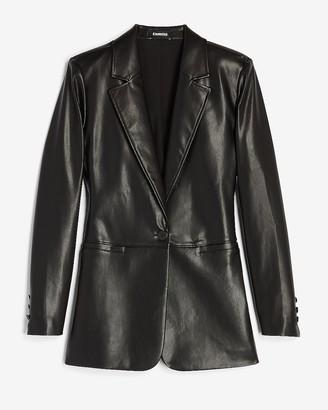 Express Vegan Leather One Button Long Sleeve Blazer