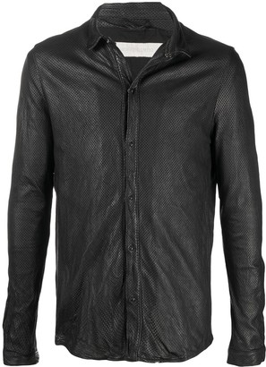 Giorgio Brato Perforated-Detail Leather Shirt Jacket