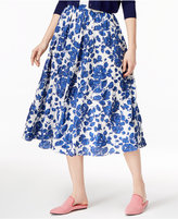 Max Mara Fedora Cotton Floral-Print A-Line Skirt