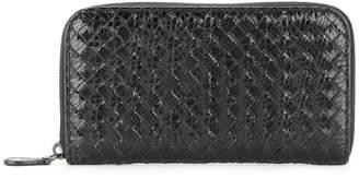 Bottega Veneta Pre Owned Intrecciato Weave Zipper Wallet