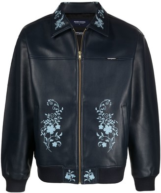 Noon Goons Floral-Print Faux Leather Jacket