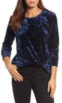 Halogen Women's Crushed Velvet Front Tie Top