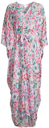 Shoshanna Floral Long Caftan Cover-Up