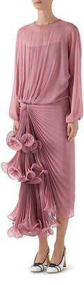 Gucci Silk Georgette Plisse Draped Skirt