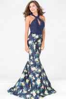 Jovani Embellished Bodice Halter Neck Floral Dress JVN47610