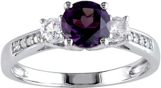 Stella Grace 10k White Gold Lab-Created Alexandrite, Lab-Created White Sapphire & Diamond Accent 3-Stone Engagement Ring