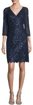 Kay Unger New York Sequin Lace V-Neck Sheath Dress, Navy
