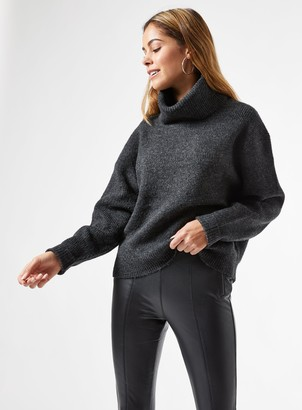 Miss Selfridge Charcoal Cowl Neck Knitted Jumper