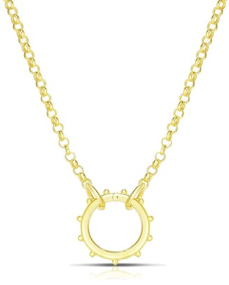Sphera Milano 14K Yellow Gold Plated Sterling Silver Rolo Link Chain Wheel Pendant Necklace