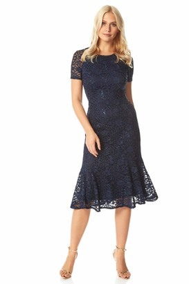 Roman Originals Women Floral Lace Overlay Dress - Ladies Luxury Shift Midi Lined Knee Length Stretch Formal Wedding Guest Party Evening Ball Gown - Black - Size 16