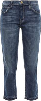 Current/Elliott Cropped Frayed Faded Mid-rise Straight-leg Jeans