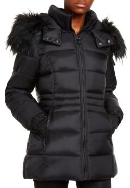 Madden-Girl Juniors' Faux-Fur Trim Hooded Shine Puffer Coat