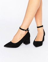 Oasis Pointed Block Heel With Ankle Strap