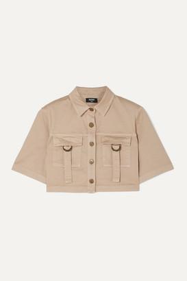 Balmain Cropped Cotton-blend Drill Shirt - Beige