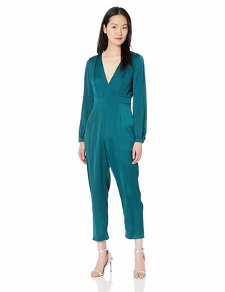 ASTR the Label Women's Dusk to Dawn Long Sleeve Plunging Dressy Jumpsuit
