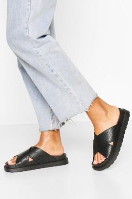 boohoo Croc Cross Strap Footbed Sliders