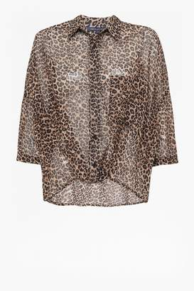 French Connection Animal Print Twist Front Shirt