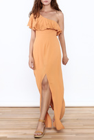 Honey Punch Orange One Shoulder Dress