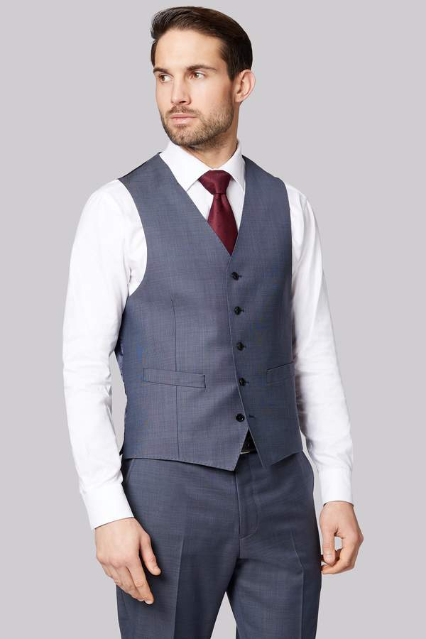 Ermenegildo Zegna Cloth Regular Fit Blue Semi Plain Waistcoat