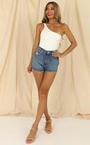 Showpo Checked In bodysuit in white - 10 (M) Tops