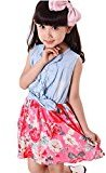 Fheaven Kids Baby Girls Denim Dress Bowknot Print Sleeveless Princess Party Dresses (7-8Y, Red)