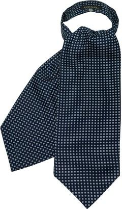 Forzieri Blue Micro Flower Printed Twill Silk Ascot Tie