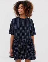 Asos Design DESIGN mini smock dress with frill waist in polka dot
