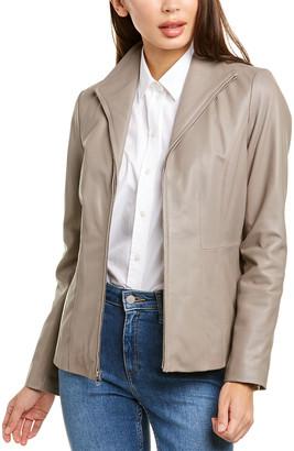 Cole Haan Zip Front Leather Jacket