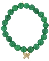 Sydney Evan Diamond Butterfly Charm On Green Onyx Beaded Bracelet