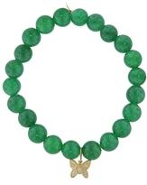 Sydney Evan Diamond Butterfly Charm On Green Onyx Beaded Bracelet