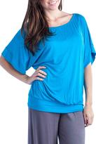 24/7 Comfort Apparel 3/4-Dolman-Sleeve Banded Top