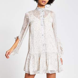 River Island Cream floral frill mini smock dress