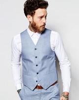 Gianni Feraud Premium 55% Linen Waistcoat Pale Blue