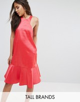 Y.A.S Tall Y.A.S Studio Tall High Neck Midi Dress With Fluted Hem Detail