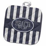 3dRose Doreen Erhardt Beach Collection - Nautical Themed Beach Bum in Distressed Navy Blue Stripes - 8x8 Potholder (phl_244647_1)