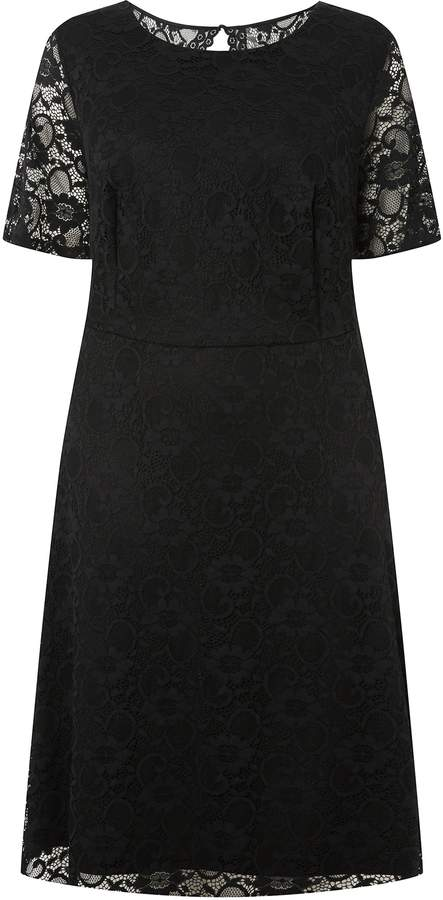 Dorothy Perkins Womens **Dp Curve Black Short Sleeve Lace Fit And Flare Dress